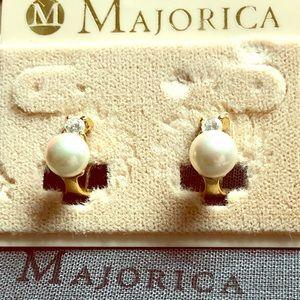 Majorica 6mm Sterling Silver Earrings NWT